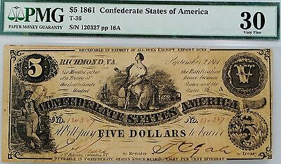 T36 $5 1861 Confederate Currency United States  PMG Very Fine 30.