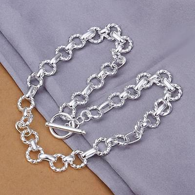 Fashion 925Sterling Solid Silver Men Jewelry Circle Link Necklace For Women N340
