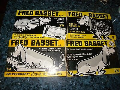 4 Fred Basset Cartoon Book N0 7 - 10  - By Graham - In Very Good Cond