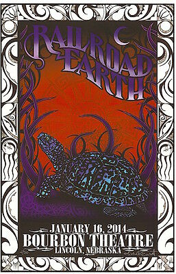 Railroad Earth Lincoln 2014 Everett SIGNED Poster 12/30