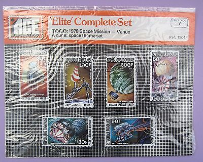 6 x vintage collectible stamps from Togo, 1978 stamps, Space Mission - Venus