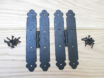 PAIR OF 185mm Hand forged wrought iron vintage old engish door h hinges