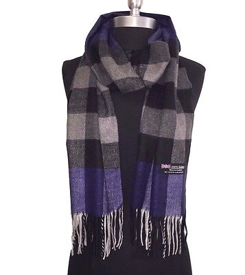 New 100% Cashmere Scarf Blue/Black/gray Plaid Check Soft Wool Wrap Unisex