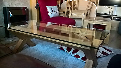 solid oak cross leg coffee table glass top