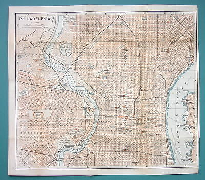 "1899 MAP by Baedeker 10 x 11"" - USA Philadelphia City Plan + Railraods"