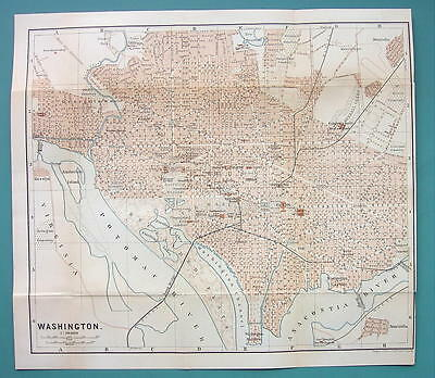 "1899 MAP by Baedeker 10 x 11"" - USA Washington DC City Plan + Railraods"