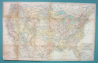 "1899 MAP by Baedeker 12 x 19.5"" - United States Political & Physical Railroads"