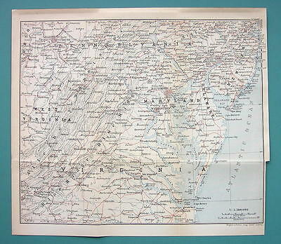 "1899 MAP by Baedeker 9 x 10"" - USA Maryland Virginia Delaware + Railraods"