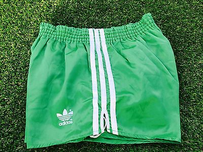 Amazing Adidas Vintage Condition Shiny Satin Sprinter Shorts Green Small D5 32