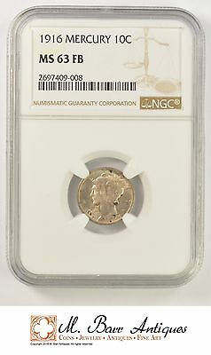 MS63 FB 1916 Mercury Silver Dime - Graded NGC *1915