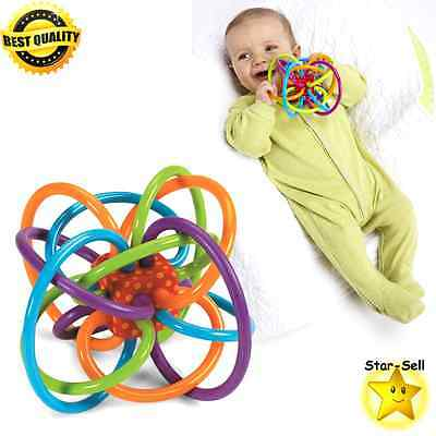 Baby Rattle Sensory Teether Activity Toy Safe Plastic Loops Newborn Chew Toys