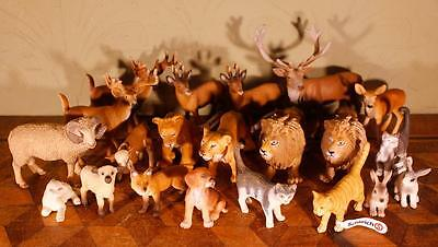 JOB LOT 21x Schleich Animals - Reindeers Lions Rabbits Cats Sheep Farm Wild Tags