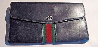 Vintage Gucci Folding Black Leather Wallet Women's