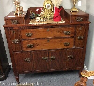 Antique Sheraton Flame Mahogany & Cherry Sideboard Server