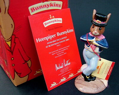 Royal Doulton Hornpiper Bunnykins Figure DB261 New with Box & it's Certificate