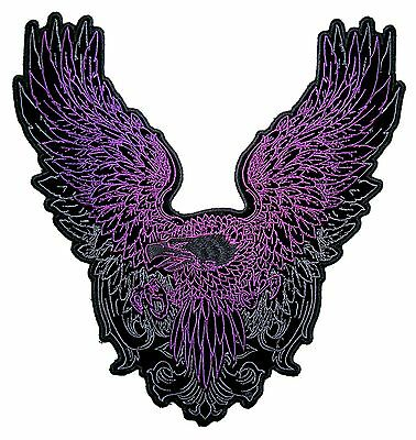 Lady Rider Large Purple Flying American Bald Eagle Embroidered Biker Patch