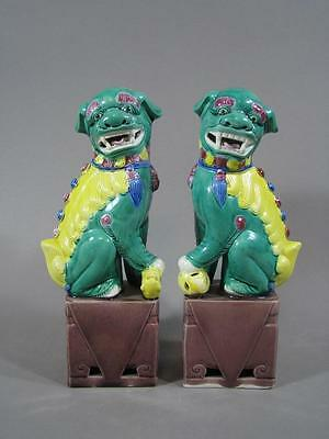 Old Pair Of Chinese Ceramic Foo Dog Statues 8 Inch