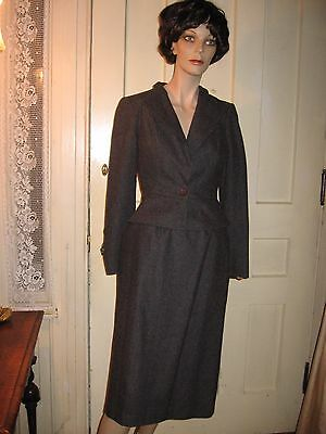 VINTAGE1980 BERGEN SQUARE 2pc DK.GRAY WOOL SUIT-1940 STYLE PEPLUM JACKET,SKIRT-7