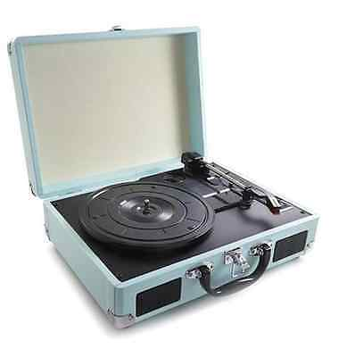 Portable 3 Speed Turntable Retro Record Player w USB AUX & Built in Speakers