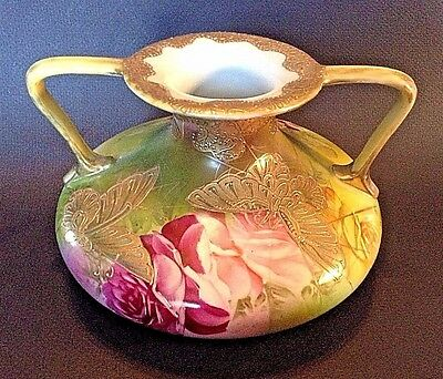 Footed Vase With Handles - Hand Painted With Raised Gold Moriage Butterflies