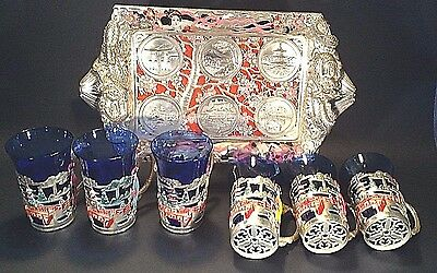 Hostess Bar Set - 6 Cobalt Blue Glasses Tray With Map And Landmarks Of Japan