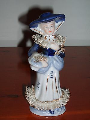 Vintage Blue and White Figurine of Lady with Netting Frills.
