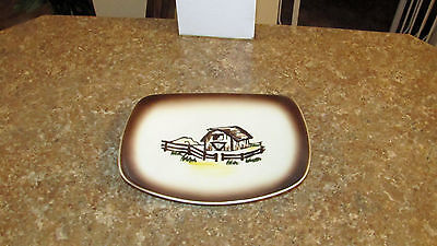 VINTAGE ORCHARD WARE HAND DECORATED CALIFORNIA ROOSTER COUNTRY Butter Plate