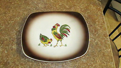VINTAGE ORCHARD WARE HAND DECORATED CALIFORNIA ROOSTER COUNTRY Large Platter