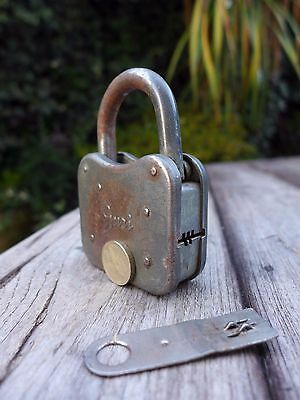 Vintage Guri Padlock with very unique flat working key, push key, collector