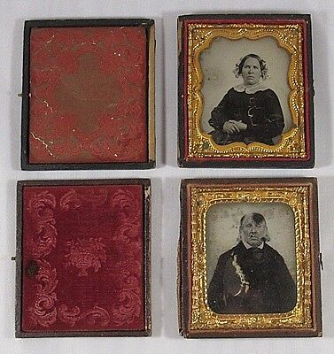 Ambrotype Photographs in Case Man Woman 2 Antique Photos