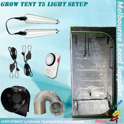 "Hydroponics Indoor Grow Tent 2x LED Grow Lights Ventilation 4"" Duct Fan Kit"