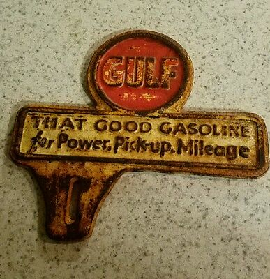 Cast Iron Gulf Gas Oil That Good Gasoline Sign Topper