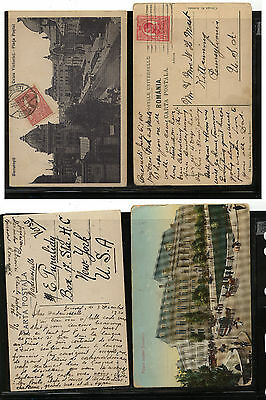 Romania  2 post  cards  to  US            KL0226