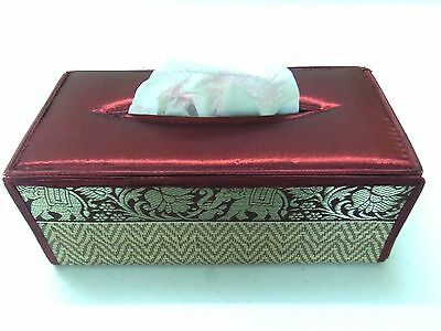Handmade Tissue Box Cover Red Home Decor Napkin Paper Holder Case Silk Reed