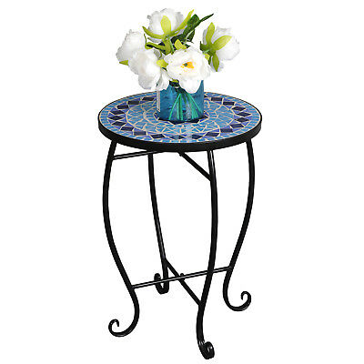 Mosaic Table Round Top Platform Plant Stand Home Little Decor Freestanding