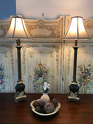 Tall Ornate French Style Pair of Bedside Table Lamp