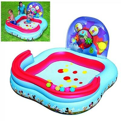 Kids Pool Swimming Splash Inflatable Water Fun Child Play Mickey Mouse Rings