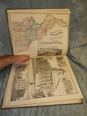 1875 Atlas Map (& Plat book) St. Charles County Missouri Pub. by W R Brink RARE