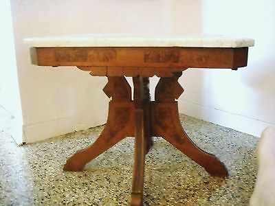 Antique Victorian Parlor Eastlake Marble Top Burled Carved Walnut Table 1880