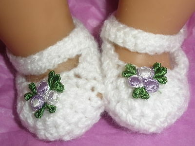 White/mauve flower Mary Jane booties/shoes/slippers: Dolls Clothes for Baby Born