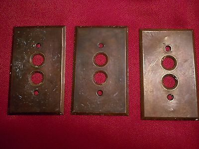 Brass~ Antique ~ single Push Button Light Switch Wall Plate Covers (3)
