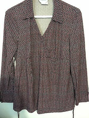 Womens Maternity Diamond Print Back Sash Tie Blouse Top Sz Medium