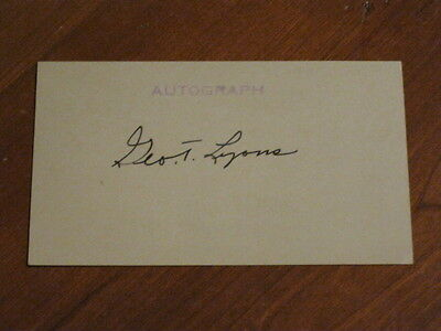 George Lyons Autographed Index Card JSA Auction Certified