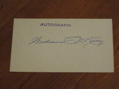 Bill William McCarry Autographed Index Card JSA Auction Certified