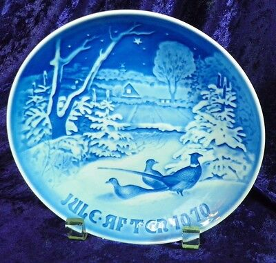 1970 B & G Cobalt White Jule Aften (not AFTER) Xmas Eve Plate Pheasants in Snow