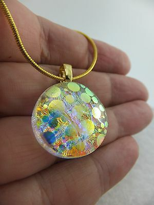 Opalescence Design Clear Dichroic Glass Pendant & Chain