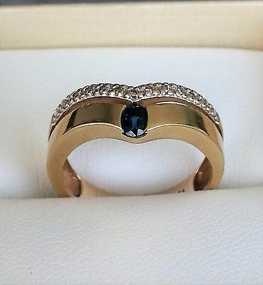 SOLID 9CT YELLOW GOLD SAPPHIRE & DIAMOND RING 3.06grams
