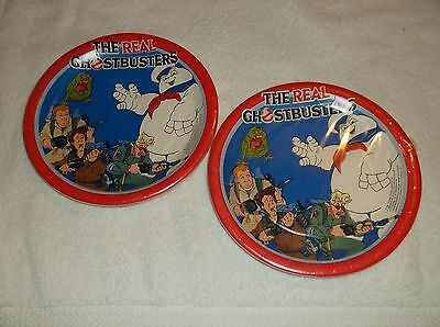 "Vintage 1986 Real Ghostbusters Party Paper Cake Plates 2 7"" Selaed Paper Spots"