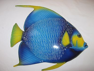 Large Blue ceramic fish wall plaque, Italian hand painted, from Sorrento