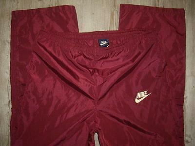 VTG NIKE Blue Tag Shiny Satin Burgundy Red Unlined Track Athletic Pants Size M